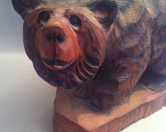 Hand Carved Grizzly Bear, Artisan Carved Animals, Bear Carvings, Vintage Bear Carvings, Folk Art Bears, Artisan Sculptured Bear, *USA ONLY*