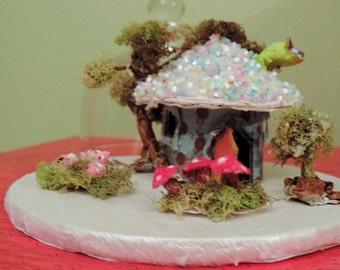 Fairy House, Miniature Under Glass, Miniature Fairy House Vignette, Recycled Paper Art, Home Decor Art, Fairy Art Collectible