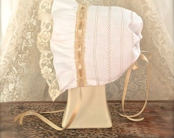 Baby Bonnet with Lace and Silk Ribbon Juvie Moon Designs White or Ivory Baby Bonnet with Lace and Silk Ribbon