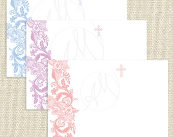 Lace THANK YOU CARD, blank note card with cross, Printed Baptism thank you note, Christening note of thanks, Thank you note for boy  - Avery