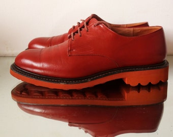 Robert Clergerie red leather brogues oxfords pumps chunky flatform sole UK 6 EU 39 shoe US 8.5
