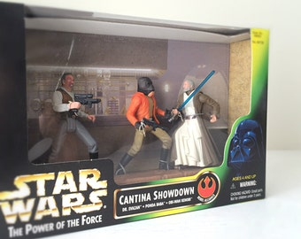 Star Wars Figures Cantina Showdown Cinema Scene Diorama & Display Stand - Obi-Wan Kenobi, Ponda Baba and Dr. Evazan - 1990's Star Wars Toys