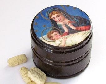 Madonna and Child Pill Box - Rosary Beads Box -  Christian Gift Item - Pyx Box