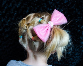 Hair Bow - Large Pink Tulle Hair Bow with Center Pearl Band, Girls Hair Bow, Baby Hair Bow