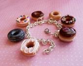 Polymer Clay Box of Doughnuts Charm Bracelet, Miniature Food Jewelry