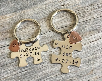 Her Only His One, Couples Keychains, Her Only His One Puzzle Keychains, Gift for Him, Gift for her, His Hers Keychains, Anniversary gift