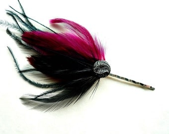 Feather Hair Pin - Black,  Wine Red Fascinator - Victorian Gothic Burlesque