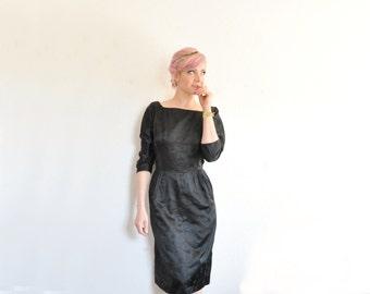black satin mid century modern dress . 1960 asian kimono print .small .sale