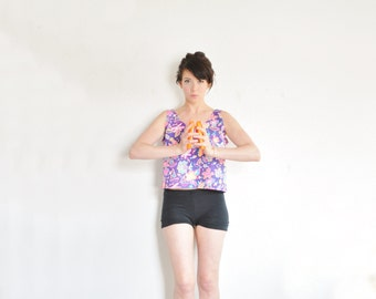 extra jazzy work out top . 1980 aerobic tank . bright beach print .small.medium.large .sale s a l e