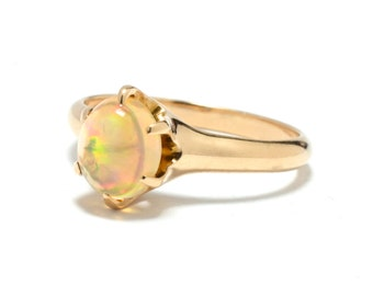 Victorian Jelly Opal 14K Gold Ring - Size 7.5