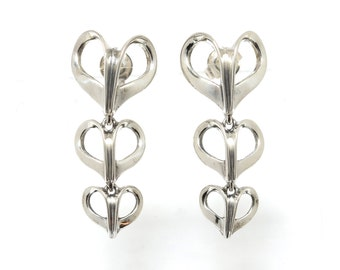Sterling Silver & 14K Cascading Hearts Earrings