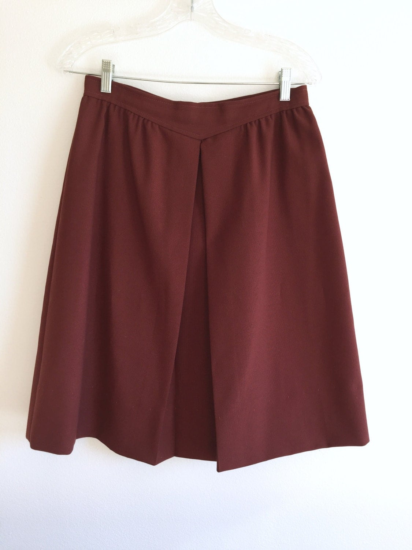 brown a line skirt knee length v front pleated skirt