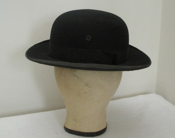 Vintage Stanhope Bros Mens Black Derby - Black Bowler Hat Project