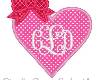 Valentine's Day Heart Bow Machine Embroidery Applique Design
