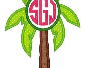 Palm Tree Monogram Machine Embroidery Applique Design