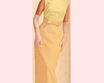 Vintage dress 60s Bridal or Formal Yellow Dress With Lace Overlay Size XS - on sale