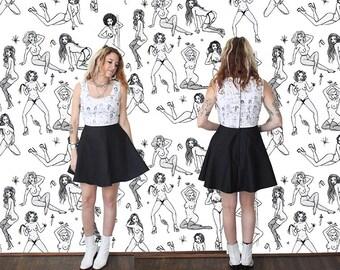 Stripper Print Dress / Tati Compton X Rusty Cuts Mini Dress Sz XS S M L