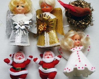Lot of 6 1960s-70 Various Vintage Christmas Ornaments