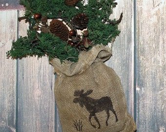 Moose Decor, Rustic Hunting Decor, Rustic Decor, Burlap Wall Decor, Burlap Bag, Moose Wall Art, Burlap Decor, Hunting Cabin Decor, Pinecones