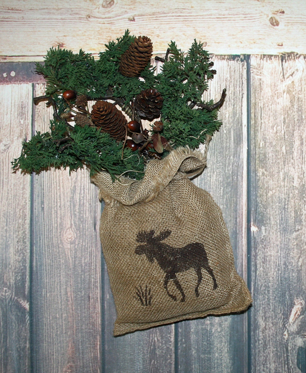 Rustic Burlap Wall Decor : Moose decor rustic hunting burlap wall