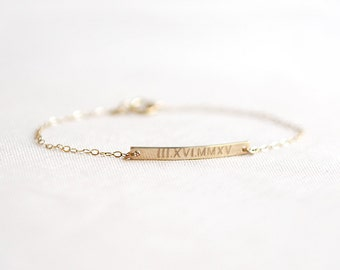 Roman Numeral Bracelet | Wedding Date Bracelet | Gold Bar Bracelet | Personalized Bar Bracelet