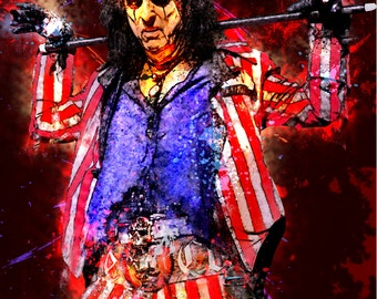 8.5 x 11 ALICE COOPER Custom Glittery Art Print Digital Painting Without frame Unframed Purchase frame separately.