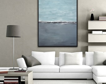 Framed Landscape Painting 30 x 40 Large Original Art Abstract Modern Contemporary Art Gray Blue Oil Painting Seascape by Sky Whitman