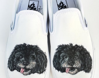 Custom Vans Shoes - Dog Portrait Hand Painted