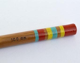 Size N Crochet Hook - Hand Painted Bamboo Crochet Hook - UK Size 000 (10mm)