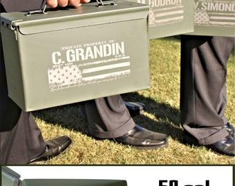 Personalized Groomsman Gift, Bullet Box, Ammo Box 50 Caliber Ammo Can, Father of the Bride / Groom, Best Man Gift, Custom Groomsmen Gift