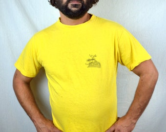 Vintage 1970s Yellow 70s Gary Patterson Thought Factory Tee Shirt Tshirt - Cliff Hanger