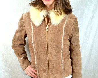 Vintage Leather Suede Jacket Coat - Wilson's House of Suede and Leather - Fur Collar