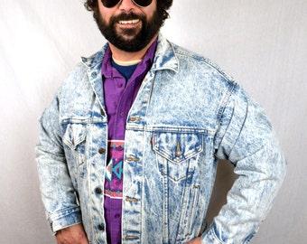 Vintage Levis Acid Wash Denim Winter Jacket
