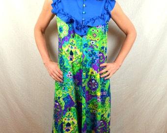 Vintage 1960s Lilia Liberty House Psychedelic Honolulu Floral Neon Blue Ruffle Mumu Hawaiian Summer Dress