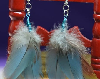 Elegant Feather Earrings, Hippie Chic, Boho Earrings, Aquamarine, red, yellow, 3 feathers, macaw feathers, natural feathers, natural colors,