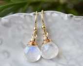 Moonstone Earrings / Gold Rainbow Moonstone / Small Gemstone Dangle Earrings / Wire Wrapped Briolette / Gold Fill French Wires
