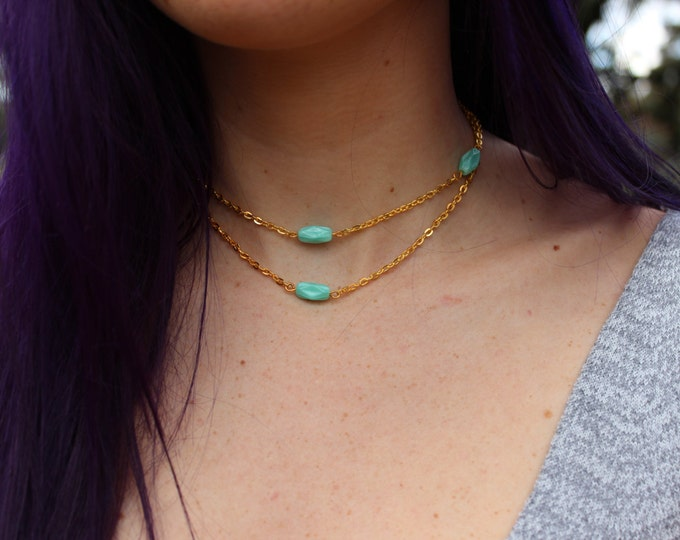Gold and Turquoise Beaded Choker Necklace.