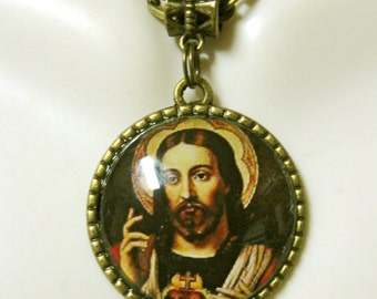 Sacred heart of C hrist pendant and chain - AP05-121