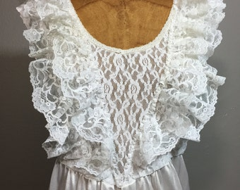Vintage 70s Ruffled Lace Slip Dress Pinafore Bib M