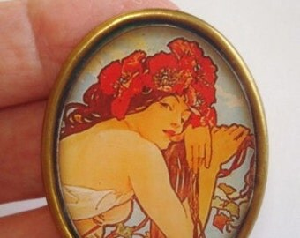 Art Nouveau Mucha Lady Vintage Jewelry Flower  Brooch KL Design