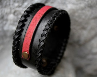 Leather bracelet genuine leather wristband first class leather cuff mens bracelet black