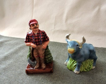 Paul Bunyan and Babe The Blue Ox Salt and Pepper
