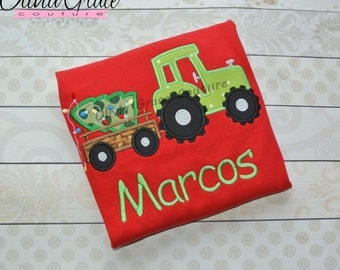 Boys Christmas Shirt, Green Tractor Shirt, Christmas Tractor with Tree, Embroidered Applique Shirt or Bodysuit, Christmas outfit