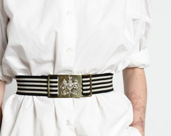 Vintage 80s Black and White Elastic Belt with Gold Crest Buckle