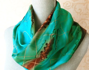 Southwestern Silk Scarf Hand Painted in Turquoise and Brown with Gold Accent