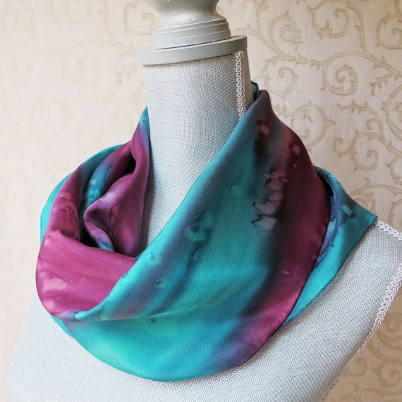 Hand Painted Silk Scarf in Turquoise and Burgundy