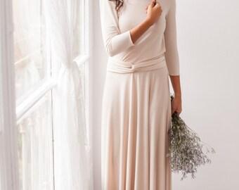 Long sleeve evening dress, champagne maxi dress, long sleeve dress, champagne bridesmaid dresses, long sleeved dresses, champagne dress