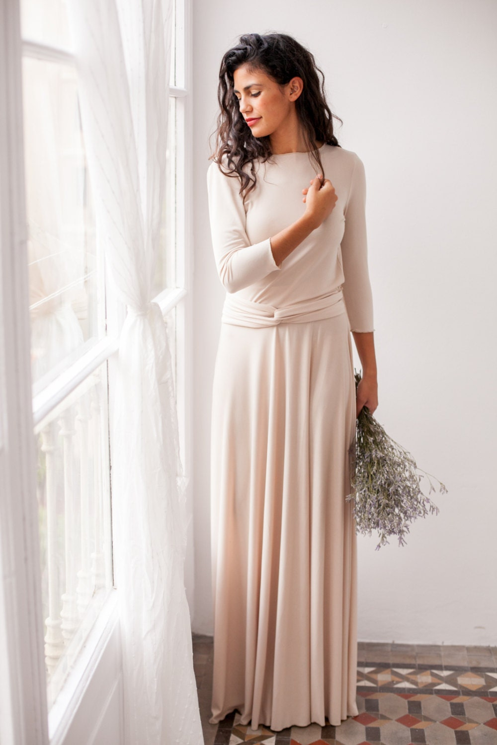 Long Sleeve Evening Dress Champagne Maxi Dress Long Sleeve