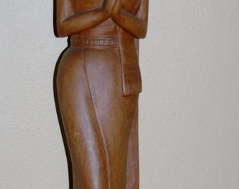 Sawadee Welcome Thai Lady Wooden Carved Statue