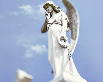 Angel Home Decor, New Orleans Fine Art Print, Angelic #1 Peaceful Wall Art, Louisiana Photography, White, Blue Cemetery Photo, Angel Statue